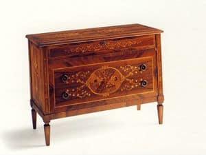 Keats, Klassische Kommode mit drei Schubladen, aus Fichte