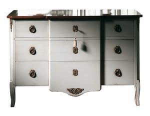 Marseille VS.1041.A, Walnut Brust, 3 Schubladen und Holz, Messing Schmuck, klassischen Stil