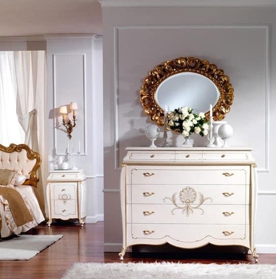 OLIMPIA B / Ivory lackierte Kommode, Kommode aus Holz, klassischen Stil, für den Luxus-Hotel