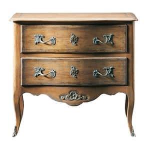 Oscar FA.0070, Übergang regionalen Kommode aus Holz, mit kleinen Blumendekoration unter 2 Schubladen, ideal für Schlafzimmer