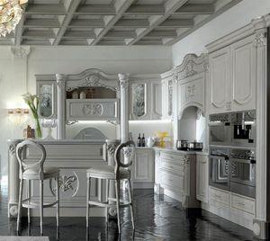 Luigi XVI Küche, Küchenmöbel mit raffinierten und wertvollen Details