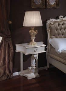 3645 NACHTTISCH, Nachttisch mit Blattgold Veredelungen für Schlafzimmer geeignet