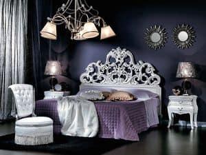 711 NACHTTISCH, Nachttisch mit 2 Schubladen in Bronze versilbert, klassischen Stil