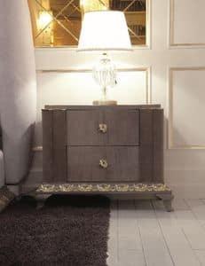 Art. 115, Luxus-Bett, Art-Deco-Stil, in Blattgold geschnitzt