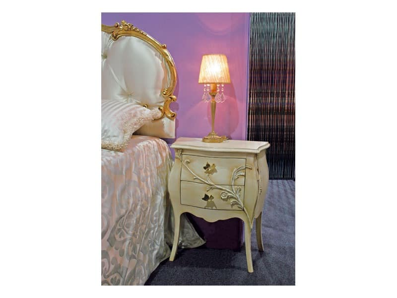 Art. 1601 Jasmine, Nachttisch im klassischen Stil, geschnitzt, für Hotel