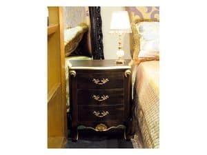Art. 1786, Klassische Nachttisch, 3 Schubladen, fertig in schwarz und gold