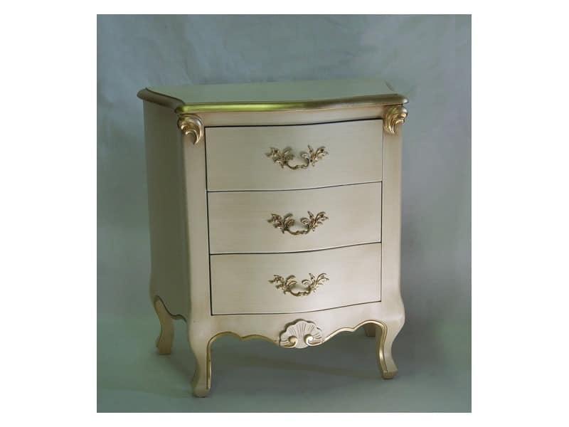 Art. 1786 ivory, Holz Nachtschränkchen, in Elfenbein und Gold Finishing, für Hotels