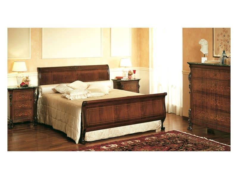 Art. 294 bedside table '800 Siciliano, Holz-Nachttische, mit Intarsien aus Marmor, für Schlafzimmer
