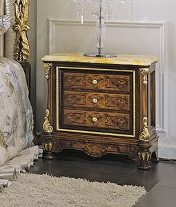 ART. 3036, Klassischer Nachttisch mit gelber Marmorplatte