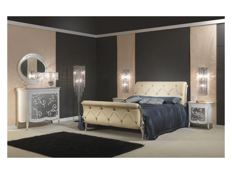 Art. 610 Nachttisch, Nachttisch aus Holz, mit Blattsilber verziert, für klassische Möblierung