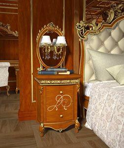 Botticelli Nachttisch, Nachttisch aus Walnuss, goldene Details