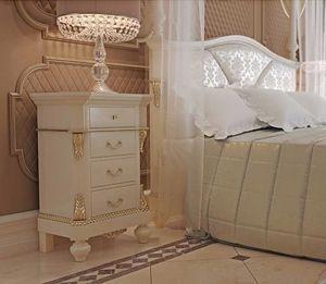 Carlotta Nachttisch, Eleganter weiß lackierter Nachttisch
