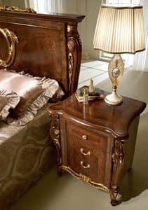 Donatello Nachttisch, Luxus classic Nachttisch, in Holz geschnitzt, für Schlafzimmer