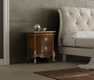 Liò Nachttisch aus Walnuss, Nachttisch aus Holz mit goldenen Details