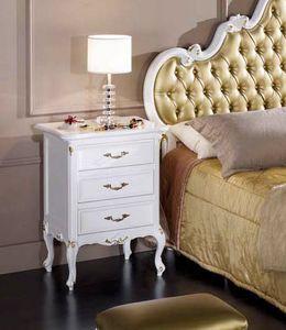 Perla Nachttisch, Eleganter weiß lackierter Nachttisch