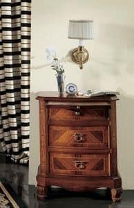Settecento Nachttisch, Nachttisch mit gebogenen Front, poliert mit Schellack