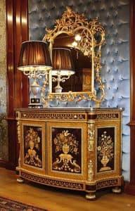 Art. 128, Anrichte für repräsentative Räume, mit handgeschnitzten, mit Intarsien mit Blumenmuster verziert
