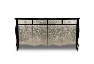 Art. 2411 Mar, Klassisches Design-Sideboard, schwarz und silberfarben
