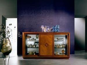CR25 Arte Sideboard, Schrank im klassischen Stil, mit Glas und Schiebetüren