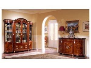 DUCALE DUCCR4PB / Sideboard 4-türig B, Anrichte aus Esche mit feinen Intarsien, klassischen Stil