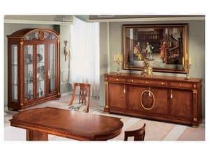 IMPERO / Sideboard with 4 doors, Klassischen Stil Sideboard aus Holz mit Goldveredelung
