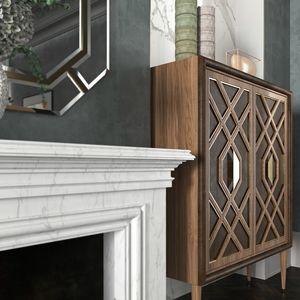 Intrigue Großes Sideboard, Hohe Sideboard aus Holz furniert, mit goldenen Kanten