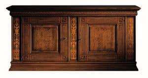 Medicea ME.0450, Nussbaum Sideboard mit 2 Türen und 2 Schubladen, mit Intarsien aus Ahorn und Palisander, 1500 Florenz Stil
