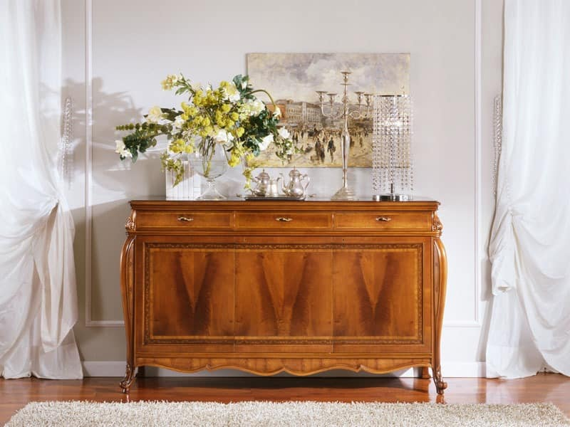 OLIMPIA B / Sideboard mit 3 Türen, Sideboard im luxuriösen Stil mit 3 Türen, für Salotti
