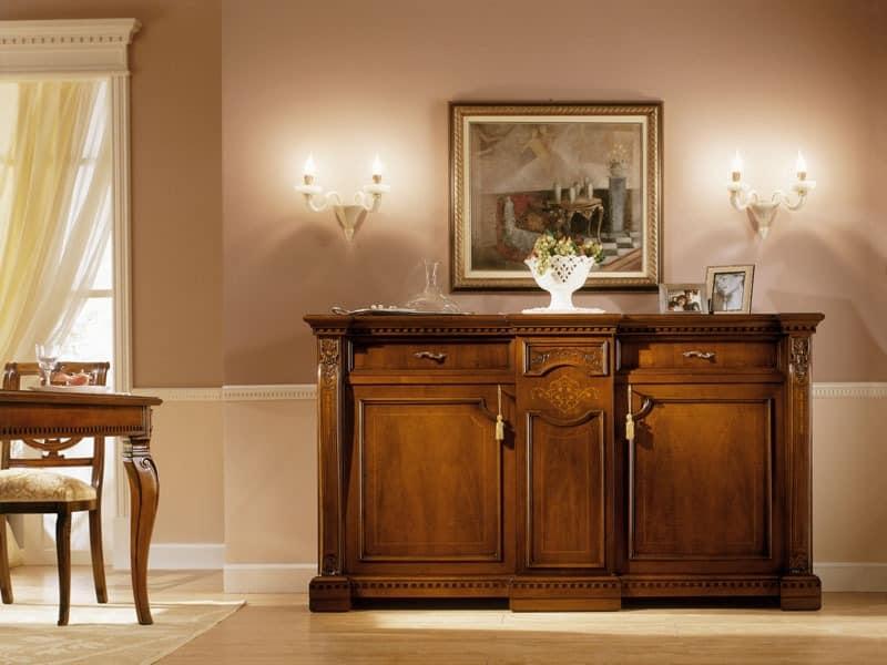 REGINA NOCE / Sideboard, Luxury klassische Sideboard aus Massivholz für Wohnzimmer