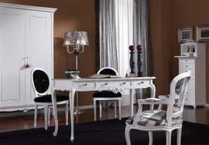 3620 DESK, Schreibtisch mit 3 Schubladen mit Knöpfen swaroski, weiß lackiert