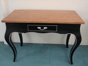 Art. 129, Schreibtisch mit Schublade, schwarz lackiert und Nussbaumholz