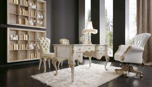 Botero Schreibtisch, Schreibtisch im klassischen Stil aus perlweißem Holz