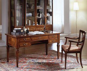 D 401, Klassische Kirschholz Schreibtisch, mit Intarsien platte, 5 Schubladen