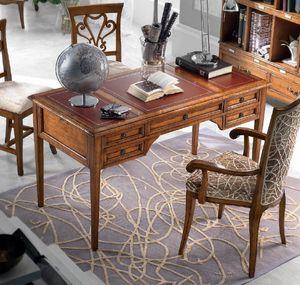 Direttorio Schreibtisch, Klassischer Schreibtisch mit Lederplatte