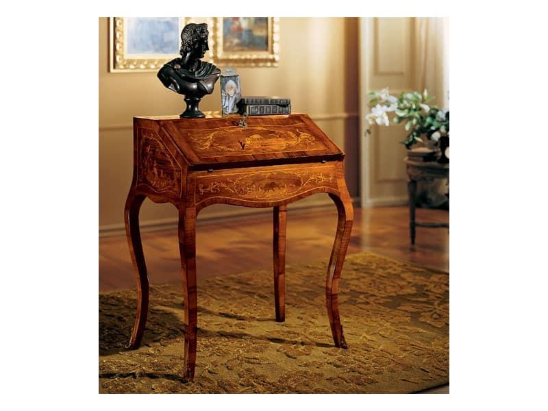 Ergänzt Schreibtisch 830, Schreibtisch aus Holz mit Faltverdeck, klassischen Stil
