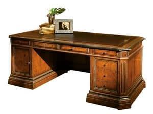 Londa ME.0950, Walnut Schreibtisch, Leder oben, für das Büro im klassischen Stil