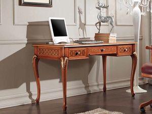 Rubin Schreibtisch, Klassischer Schreibtisch mit dekorativen Intarsien