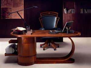 SC16 Zebrano Schreibtisch, Holz-Schreibtisch mit Schubladen, klassischen Stil