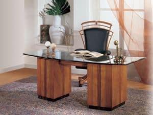 SO24 Schreibtisch, Schreibtisch mit Glasplatte, eingelegten Medaillons in Kirsche