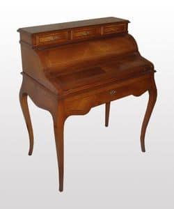 Thomas, Schreibtisch aus Nussbaum mit Top in Leder, klassischer Stil
