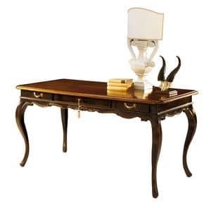 Tiepolo RA.0688, Nussbaum-Schreibtisch mit 3 Schubladen, ebonized Finish