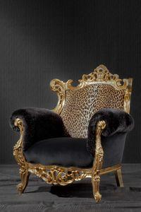 Finlandia animalier, Luxus-Sessel, gepolstert in Leopardenmuster Stoff