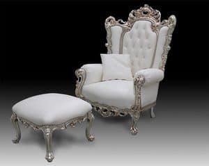Casanova Thron, Klassischer Sessel mit Leder bezogen, Barock