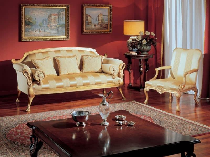 3180 ARMCHAIR, Klassischer Sessel mit goldenen Verzierungen für Wohnräume