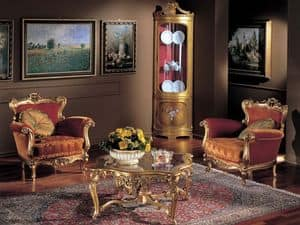 3195 ARMCHAIR BAROCCO, Hand geschnitzten Sessel, Finish in Blattgold