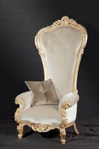 Trono Stoff, Barock Sessel ideal für Wohnräume und Hotels