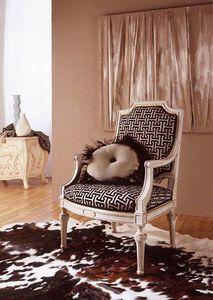 9806 sessel, Klassischer Sessel mit Goldblatt-Schnitzereien