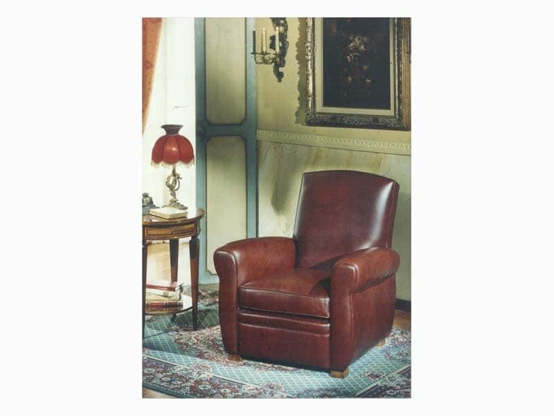 Armand, Antik-Stil Sessel in Leder, für Wohnzimmer