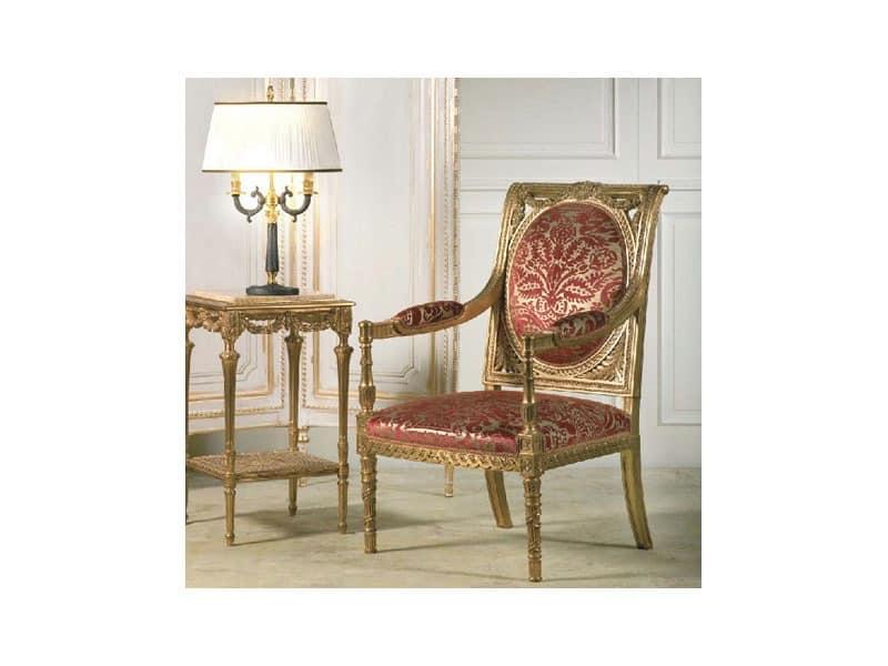 Art. 805 Versailles, Sessel mit reichen handgemachten Schnitzereien, für neoklassizistischen Stil Aufenthaltsräume