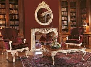 Art. 961/L, Sessel für Luxus-Lounge, handgeschnitzten Holzbasis